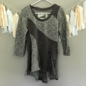 Anthropologie Angel Of The North Grey Lace Sweater